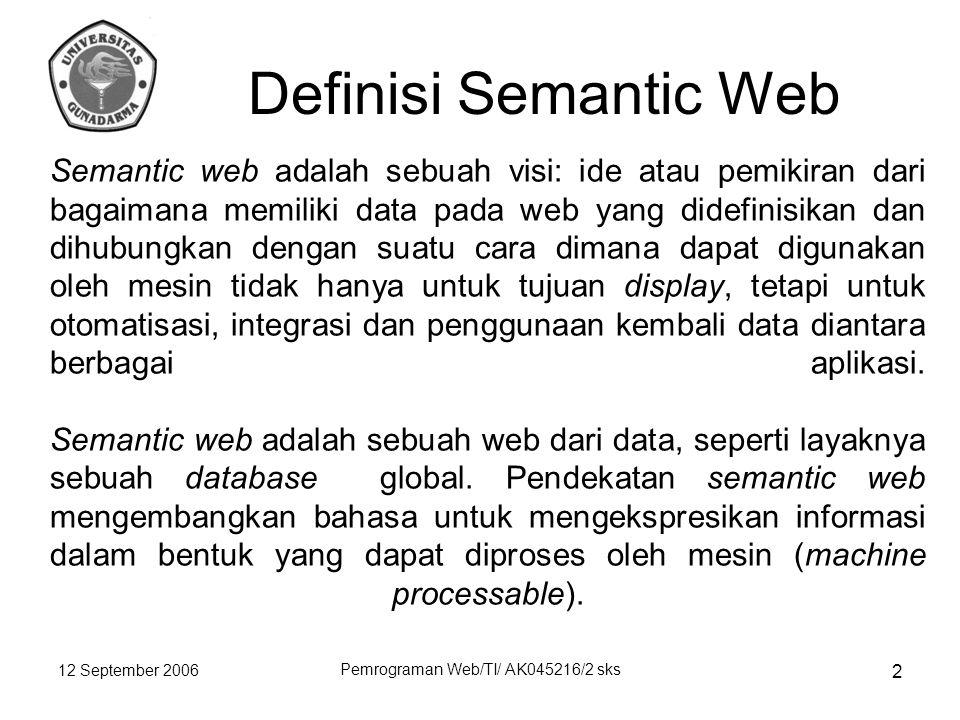 12 September 2006 Pemrograman Web/TI/ AK045216/2 sks 2 Semantic web adalah sebuah visi: ide atau pemikiran dari bagaimana memiliki data pada web yang didefinisikan dan dihubungkan dengan suatu cara dimana dapat digunakan oleh mesin tidak hanya untuk tujuan display, tetapi untuk otomatisasi, integrasi dan penggunaan kembali data diantara berbagai aplikasi.