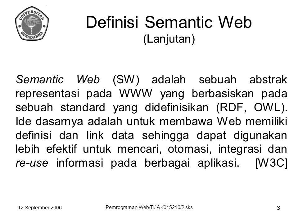 12 September 2006 Pemrograman Web/TI/ AK045216/2 sks 3 Semantic Web (SW) adalah sebuah abstrak representasi pada WWW yang berbasiskan pada sebuah standard yang didefinisikan (RDF, OWL).