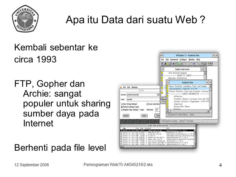 12 September 2006 Pemrograman Web/TI/ AK045216/2 sks 4 Apa itu Data dari suatu Web .