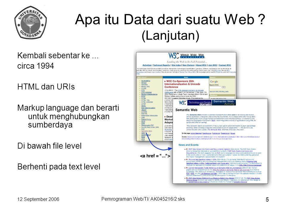 12 September 2006 Pemrograman Web/TI/ AK045216/2 sks 5 Apa itu Data dari suatu Web .