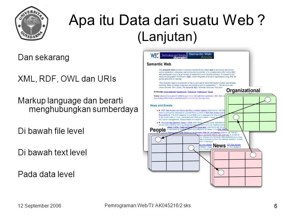 12 September 2006 Pemrograman Web/TI/ AK045216/2 sks 6 Apa itu Data dari suatu Web .