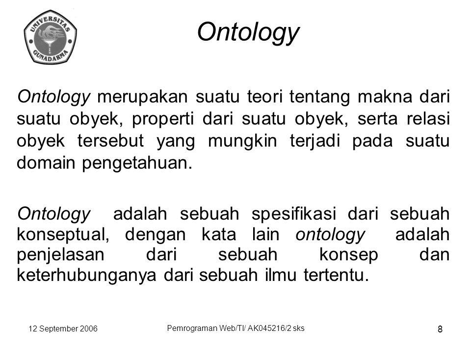 12 September 2006 Pemrograman Web/TI/ AK045216/2 sks 8 Ontology Ontology merupakan suatu teori tentang makna dari suatu obyek, properti dari suatu obyek, serta relasi obyek tersebut yang mungkin terjadi pada suatu domain pengetahuan.