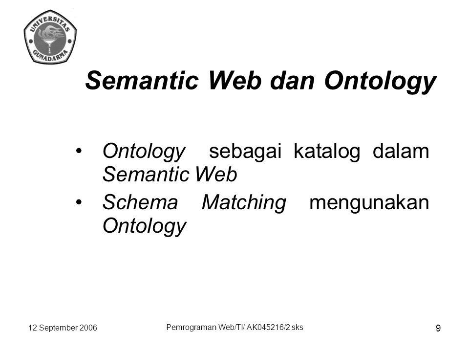 12 September 2006 Pemrograman Web/TI/ AK045216/2 sks 9 Semantic Web dan Ontology Ontology sebagai katalog dalam Semantic Web Schema Matching mengunakan Ontology