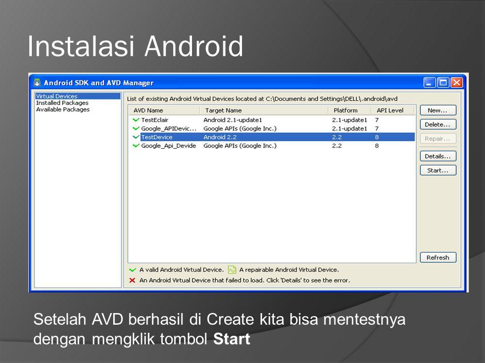 Instalasi Android Setelah AVD berhasil di Create kita bisa mentestnya dengan mengklik tombol Start