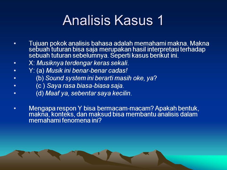 Analisis Kasus 2 Dalam masyarakat Indonesia yang heterogen, tuturan basa-basi untuk menolak agar tuan rumah tidak perlu menghidangkan sesuatu kepada tamu dinyatakan secara berbeda- beda, a.l: (a)Tidak usah repot-repot, Bu.