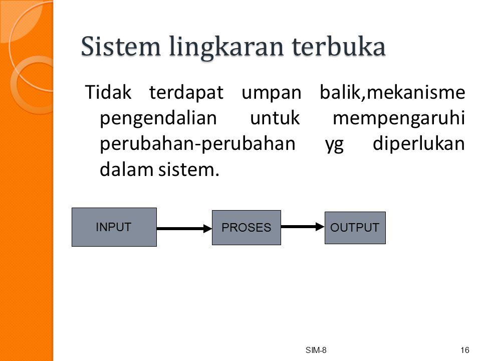Sistem lingkaran terbuka Tidak terdapat umpan balik,mekanisme pengendalian untuk mempengaruhi perubahan-perubahan yg diperlukan dalam sistem.