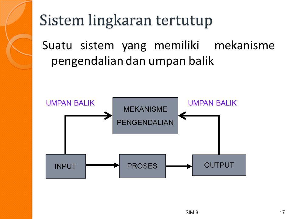 Sistem lingkaran tertutup Suatu sistem yang memiliki mekanisme pengendalian dan umpan balik SIM-817 INPUT PROSES OUTPUT MEKANISME PENGENDALIAN UMPAN BALIK