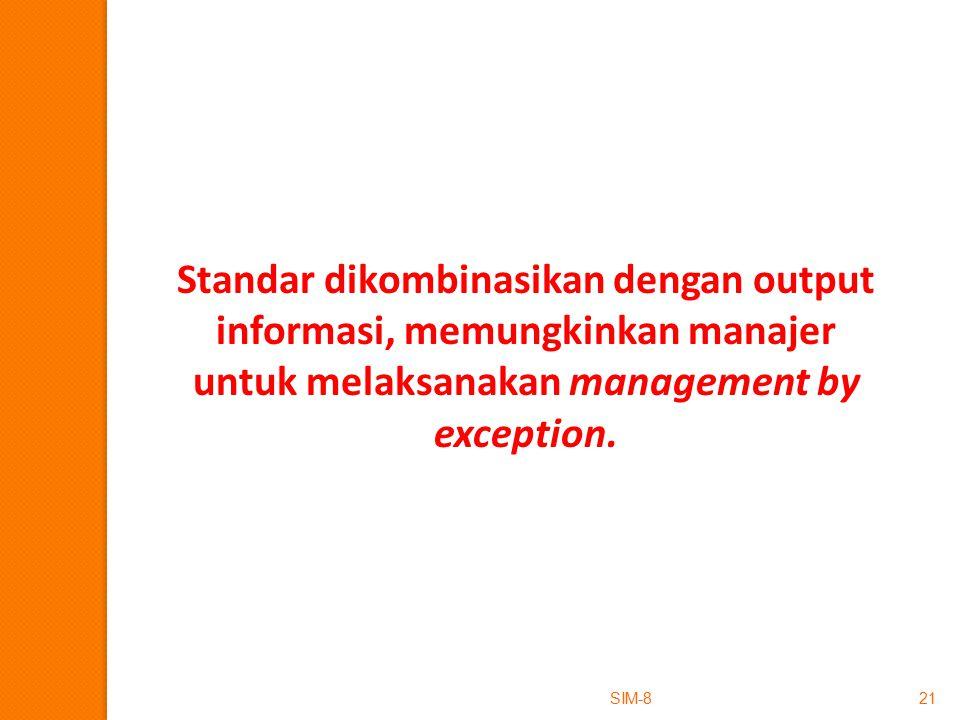 SIM-821 Standar dikombinasikan dengan output informasi, memungkinkan manajer untuk melaksanakan management by exception.