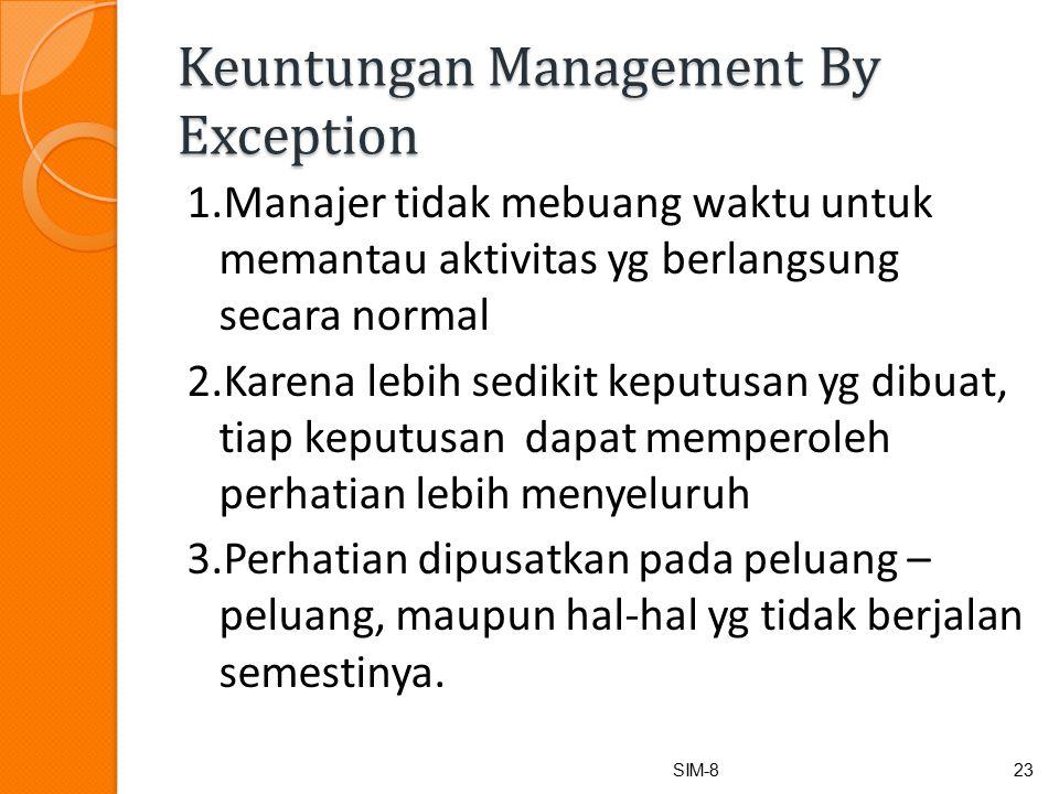 Keuntungan Management By Exception 1.Manajer tidak mebuang waktu untuk memantau aktivitas yg berlangsung secara normal 2.Karena lebih sedikit keputusan yg dibuat, tiap keputusan dapat memperoleh perhatian lebih menyeluruh 3.Perhatian dipusatkan pada peluang – peluang, maupun hal-hal yg tidak berjalan semestinya.