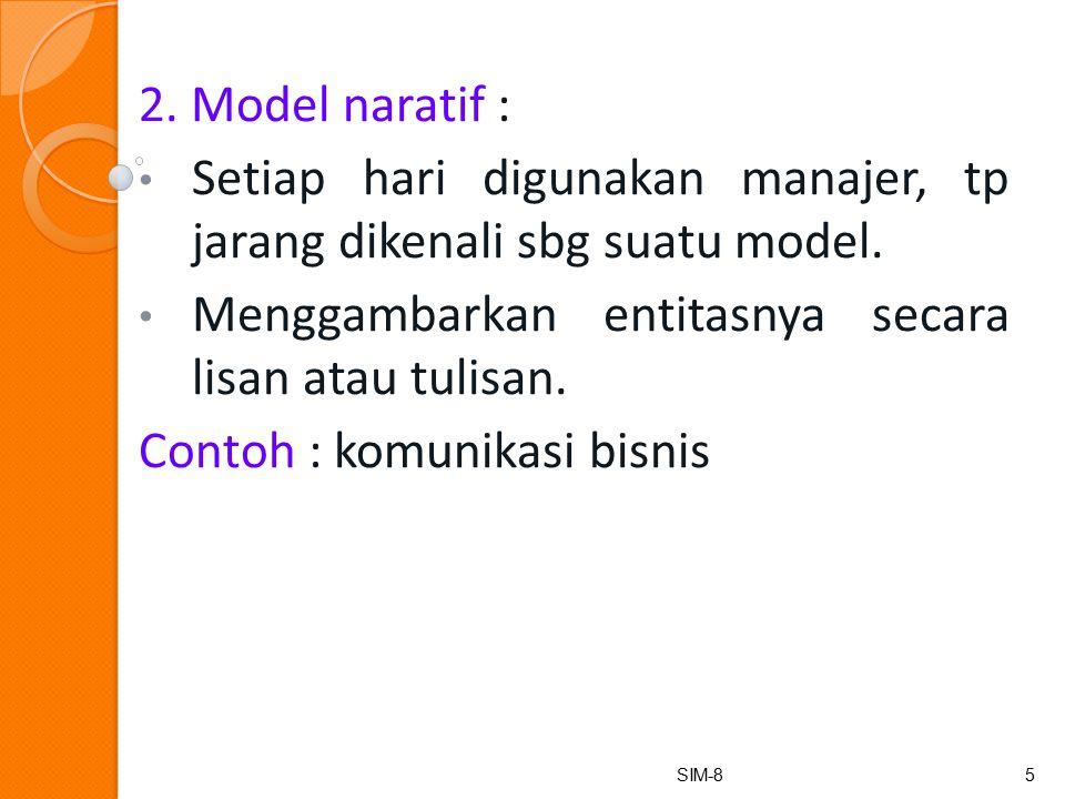 2.Model naratif : Setiap hari digunakan manajer, tp jarang dikenali sbg suatu model.