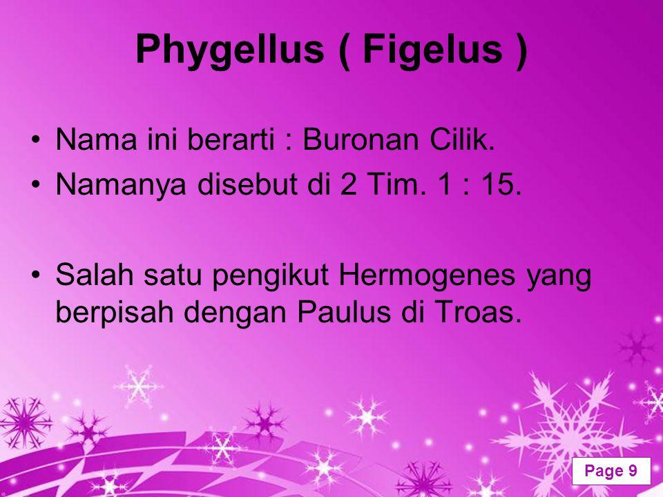 Powerpoint Templates Page 9 Phygellus ( Figelus ) Nama ini berarti : Buronan Cilik. Namanya disebut di 2 Tim. 1 : 15. Salah satu pengikut Hermogenes y