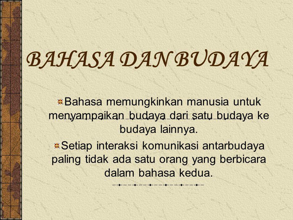 BAHASA DAN BUDAYA Bahasa memungkinkan manusia untuk menyampaikan budaya dari satu budaya ke budaya lainnya. Setiap interaksi komunikasi antarbudaya pa