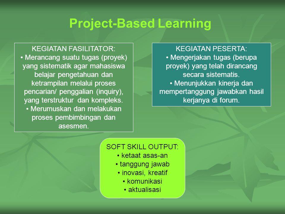 Project-Based Learning KEGIATAN PESERTA: Mengerjakan tugas (berupa proyek) yang telah dirancang secara sistematis.