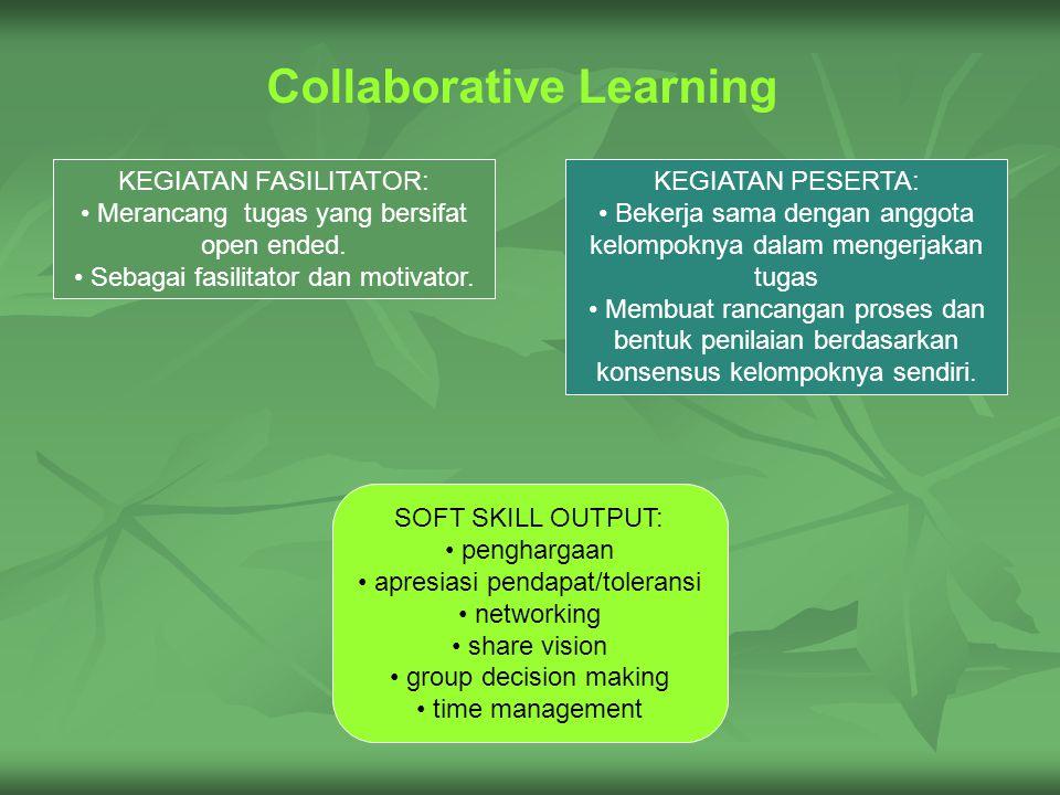 Collaborative Learning KEGIATAN PESERTA: Bekerja sama dengan anggota kelompoknya dalam mengerjakan tugas Membuat rancangan proses dan bentuk penilaian berdasarkan konsensus kelompoknya sendiri.