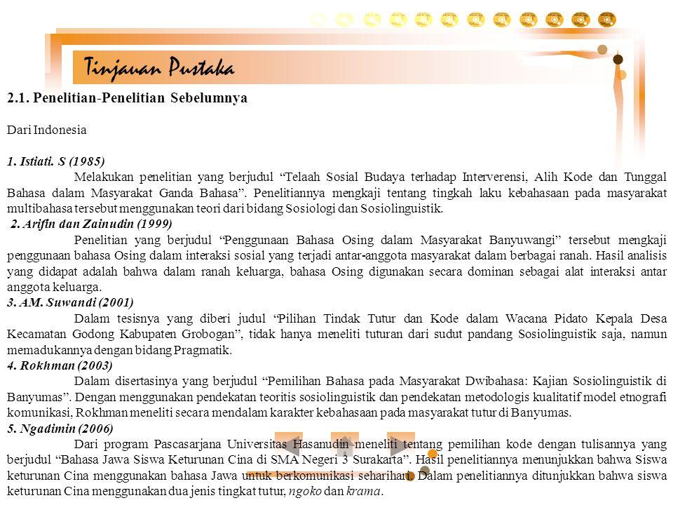 "Tinjauan Pustaka 2.1. Penelitian-Penelitian Sebelumnya Dari Indonesia 1. Istiati. S (1985) Melakukan penelitian yang berjudul ""Telaah Sosial Budaya te"