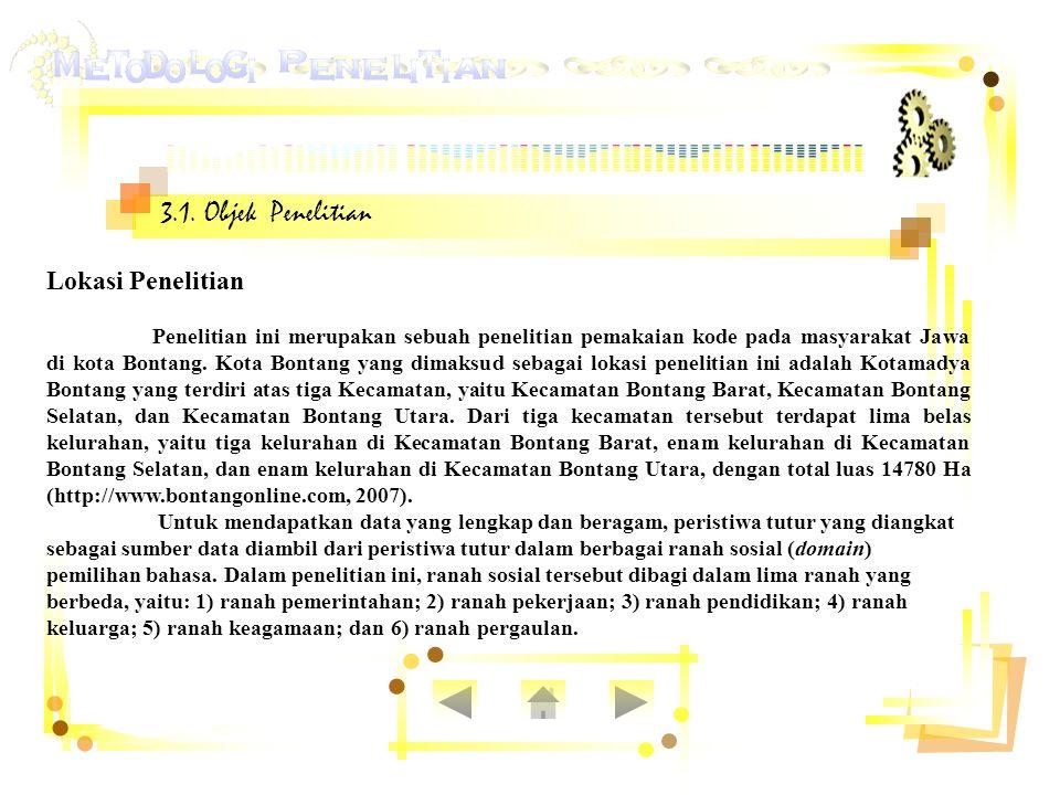 3.1. Objek Penelitian Lokasi Penelitian Penelitian ini merupakan sebuah penelitian pemakaian kode pada masyarakat Jawa di kota Bontang. Kota Bontang y