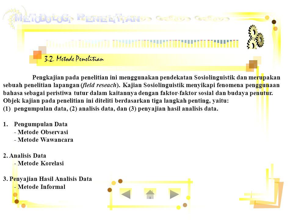 3.2. Metode Penelitian Pengkajian pada penelitian ini menggunakan pendekatan Sosiolinguistik dan merupakan sebuah penelitian lapangan (field reseach).
