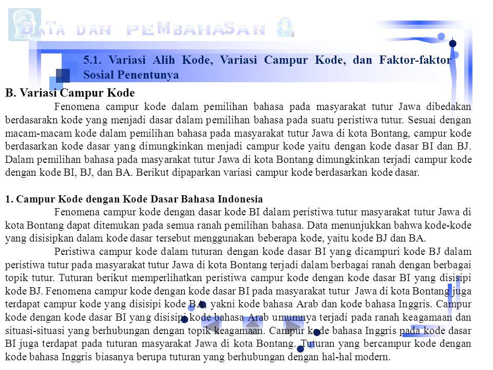5.1. Variasi Alih Kode, Variasi Campur Kode, dan Faktor-faktor Sosial Penentunya B. Variasi Campur Kode Fenomena campur kode dalam pemilihan bahasa pa