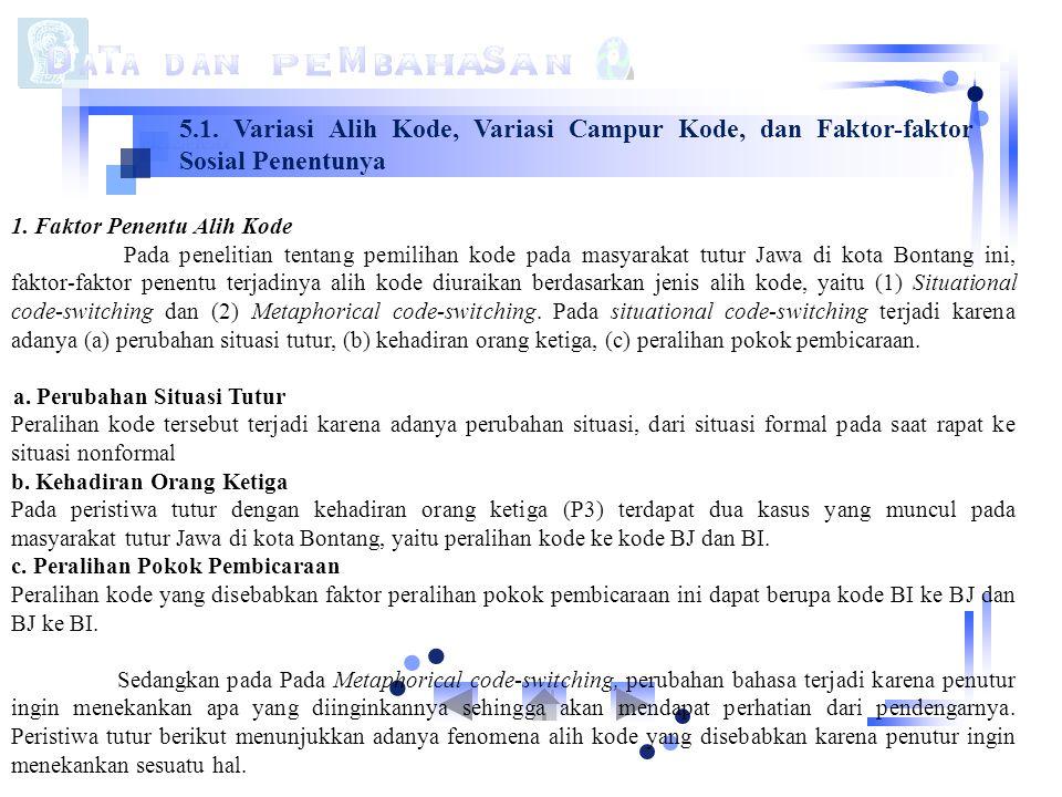 5.1. Variasi Alih Kode, Variasi Campur Kode, dan Faktor-faktor Sosial Penentunya 1. Faktor Penentu Alih Kode Pada penelitian tentang pemilihan kode pa