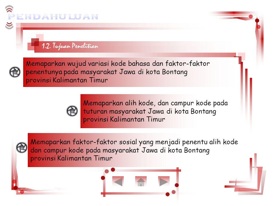 1.2. Tujuan Penelitian M emaparkan wujud variasi kode bahasa dan faktor-faktor penentunya pada masyarakat Jawa di kota Bontang provinsi Kalimantan Tim