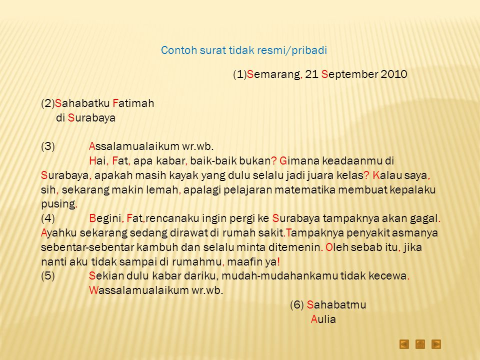 Contoh surat tidak resmi/pribadi (1)Semarang, 21 September 2010 (2)Sahabatku Fatimah di Surabaya (3)Assalamualaikum wr.wb. Hai, Fat, apa kabar, baik-b