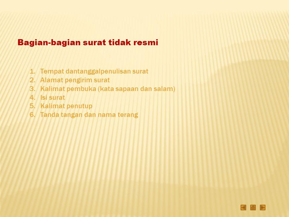 Contoh surat tidak resmi/pribadi (1)Semarang, 21 September 2010 (2)Sahabatku Fatimah di Surabaya (3)Assalamualaikum wr.wb.