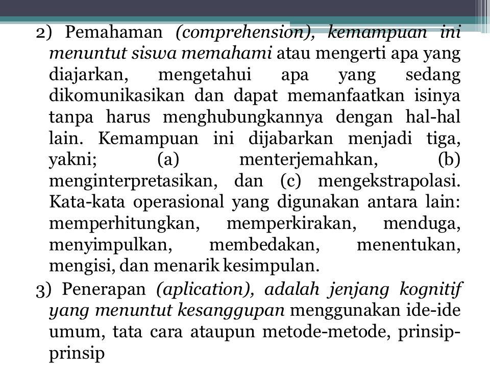 2) Pemahaman (comprehension), kemampuan ini menuntut siswa memahami atau mengerti apa yang diajarkan, mengetahui apa yang sedang dikomunikasikan dan d
