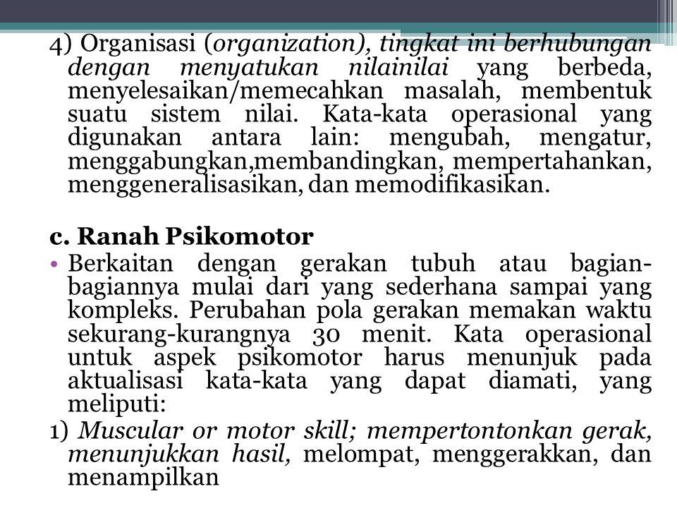 4) Organisasi (organization), tingkat ini berhubungan dengan menyatukan nilainilai yang berbeda, menyelesaikan/memecahkan masalah, membentuk suatu sis