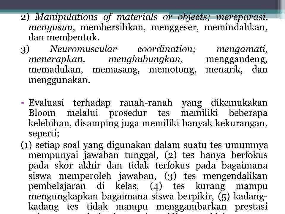 2) Manipulations of materials or objects; mereparasi, menyusun, membersihkan, menggeser, memindahkan, dan membentuk. 3) Neuromuscular coordination; me