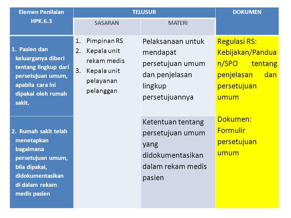 Elemen Penilaian HPK.6.3 TELUSURDOKUMEN SASARANMATERI 1. Pasien dan keluarganya diberi tentang lingkup dari persetujuan umum, apabila cara ini dipakai