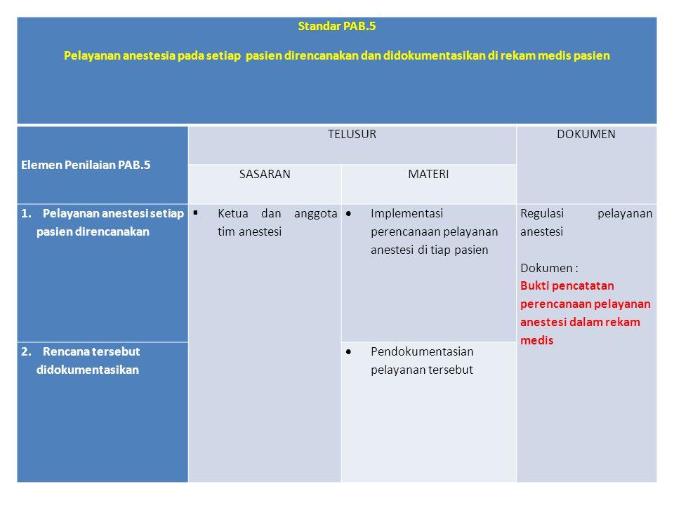 Standar PAB.5 Pelayanan anestesia pada setiap pasien direncanakan dan didokumentasikan di rekam medis pasien Elemen Penilaian PAB.5 TELUSURDOKUMEN SAS
