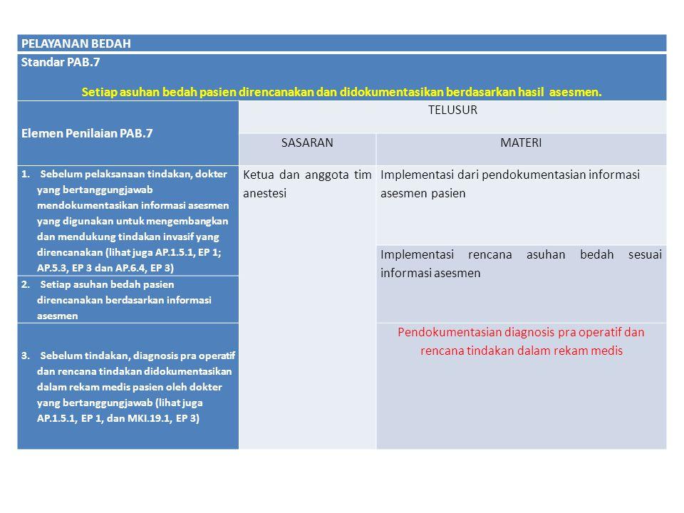 PELAYANAN BEDAH Standar PAB.7 Setiap asuhan bedah pasien direncanakan dan didokumentasikan berdasarkan hasil asesmen. Elemen Penilaian PAB.7 TELUSUR S