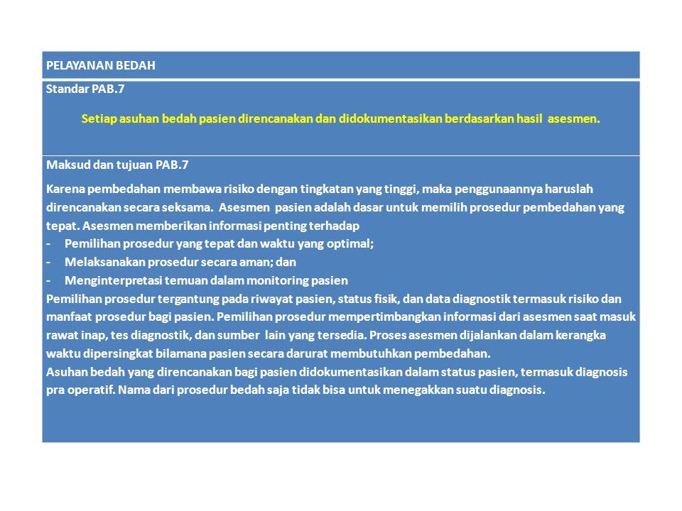 PELAYANAN BEDAH Standar PAB.7 Setiap asuhan bedah pasien direncanakan dan didokumentasikan berdasarkan hasil asesmen. Maksud dan tujuan PAB.7 Karena p