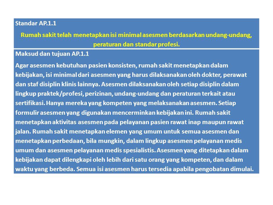 Standar AP.1.1 Rumah sakit telah menetapkan isi minimal asesmen berdasarkan undang-undang, peraturan dan standar profesi. Maksud dan tujuan AP.1.1 Aga