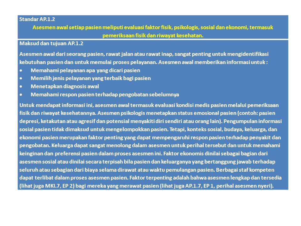 Standar AP.1.2 Asesmen awal setiap pasien meliputi evaluasi faktor fisik, psikologis, sosial dan ekonomi, termasuk pemeriksaan fisik dan riwayat keseh