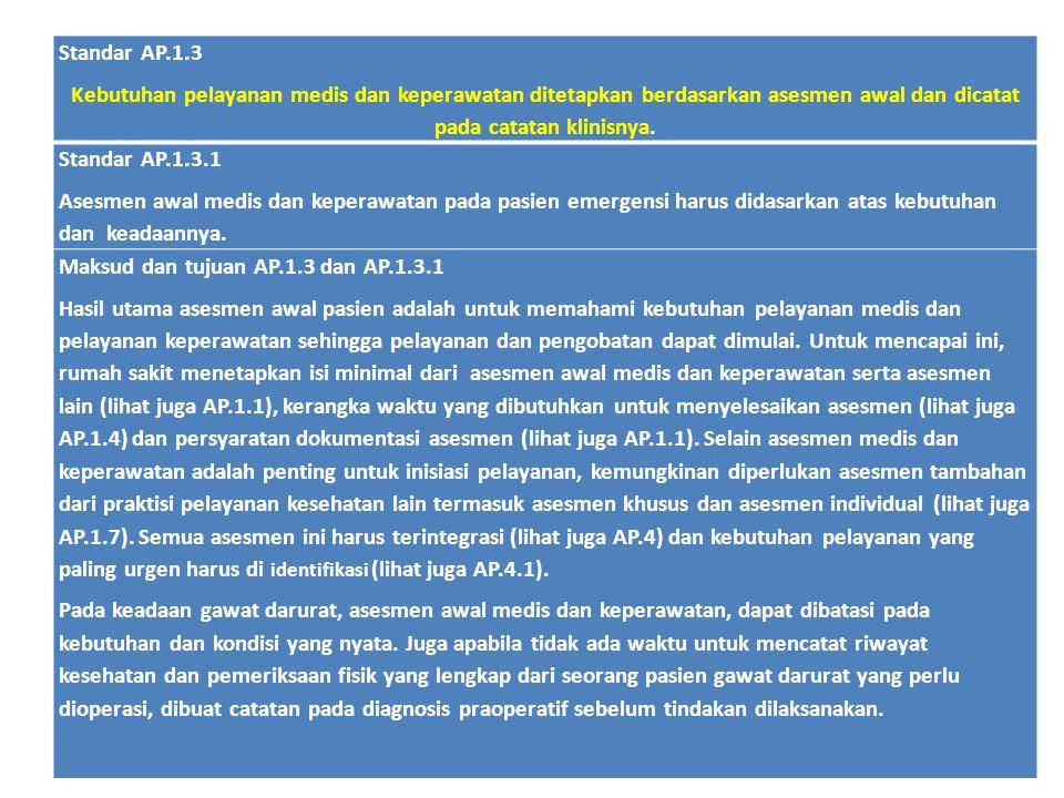 Standar AP.1.3 Kebutuhan pelayanan medis dan keperawatan ditetapkan berdasarkan asesmen awal dan dicatat pada catatan klinisnya. Standar AP.1.3.1 Ases