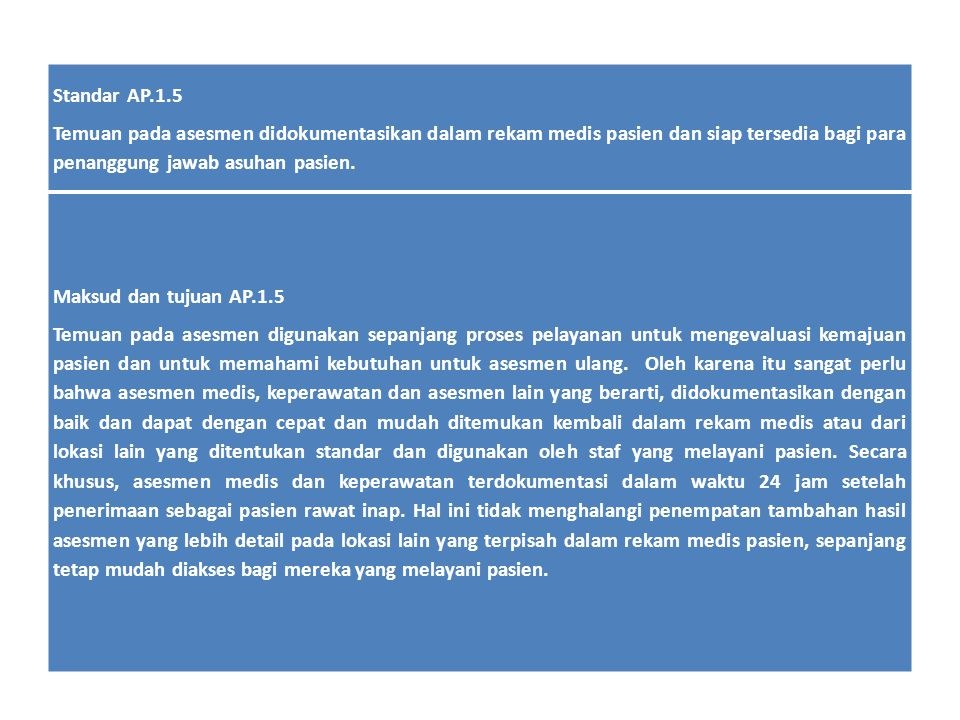 Standar AP.1.5 Temuan pada asesmen didokumentasikan dalam rekam medis pasien dan siap tersedia bagi para penanggung jawab asuhan pasien. Maksud dan tu