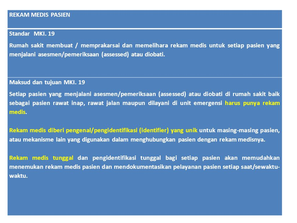 REKAM MEDIS PASIEN Standar MKI. 19 Rumah sakit membuat / memprakarsai dan memelihara rekam medis untuk setiap pasien yang menjalani asesmen/pemeriksaa