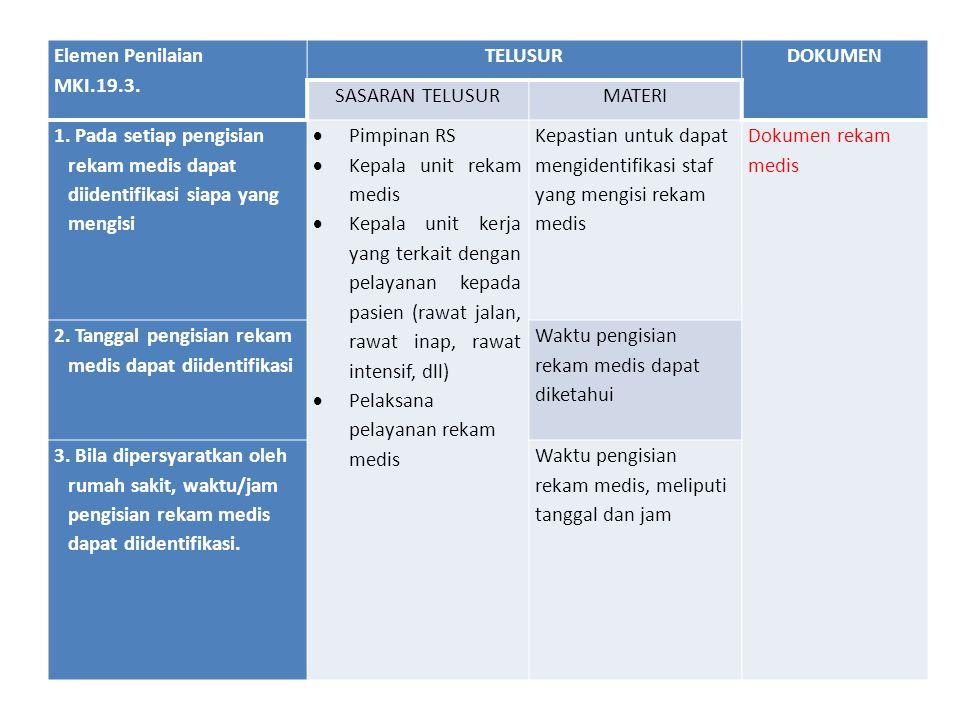 Elemen Penilaian MKI.19.3. TELUSURDOKUMEN SASARAN TELUSURMATERI 1. Pada setiap pengisian rekam medis dapat diidentifikasi siapa yang mengisi  Pimpina