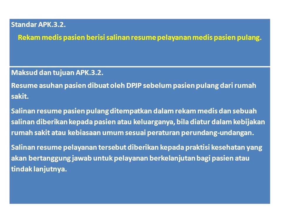 Standar APK.3.2. Rekam medis pasien berisi salinan resume pelayanan medis pasien pulang. Maksud dan tujuan APK.3.2. Resume asuhan pasien dibuat oleh D