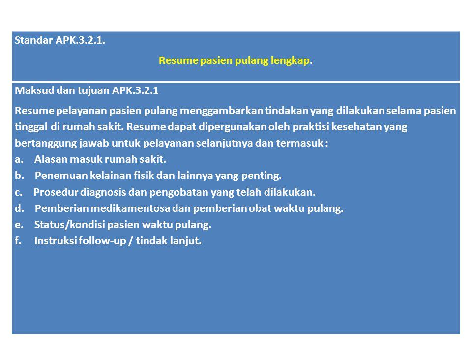 Standar APK.3.2.1. Resume pasien pulang lengkap. Maksud dan tujuan APK.3.2.1 Resume pelayanan pasien pulang menggambarkan tindakan yang dilakukan sela