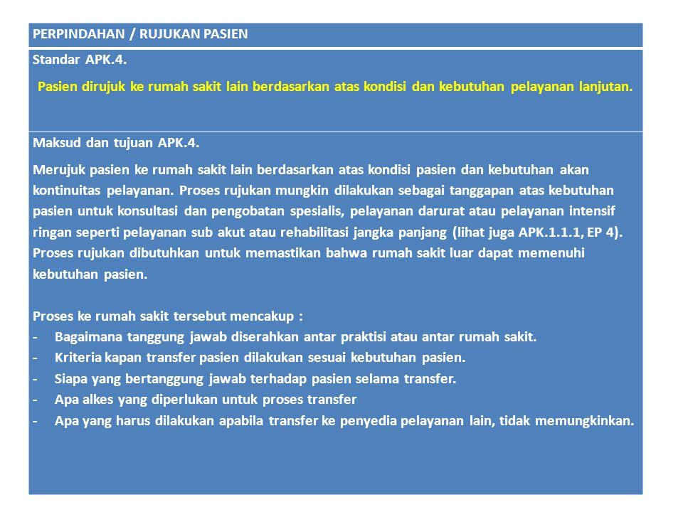 PERPINDAHAN / RUJUKAN PASIEN Standar APK.4. Pasien dirujuk ke rumah sakit lain berdasarkan atas kondisi dan kebutuhan pelayanan lanjutan. Maksud dan t