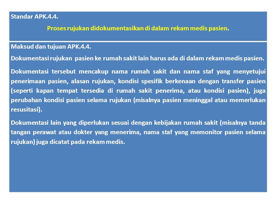 Standar APK.4.4. Proses rujukan didokumentasikan di dalam rekam medis pasien. Maksud dan tujuan APK.4.4. Dokumentasi rujukan pasien ke rumah sakit lai