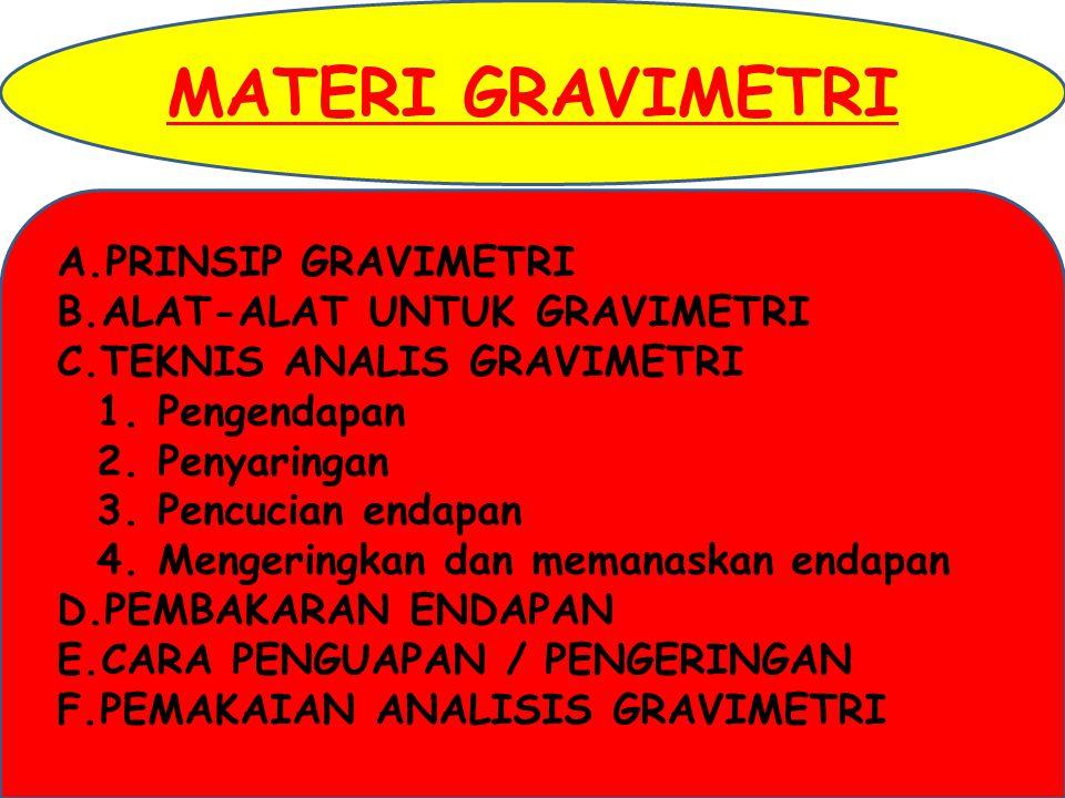 ANALISIS GRAVIMETRI adalah cara analisis kuantitatif berdasarkan berat tetap (berat konstan) – nya.