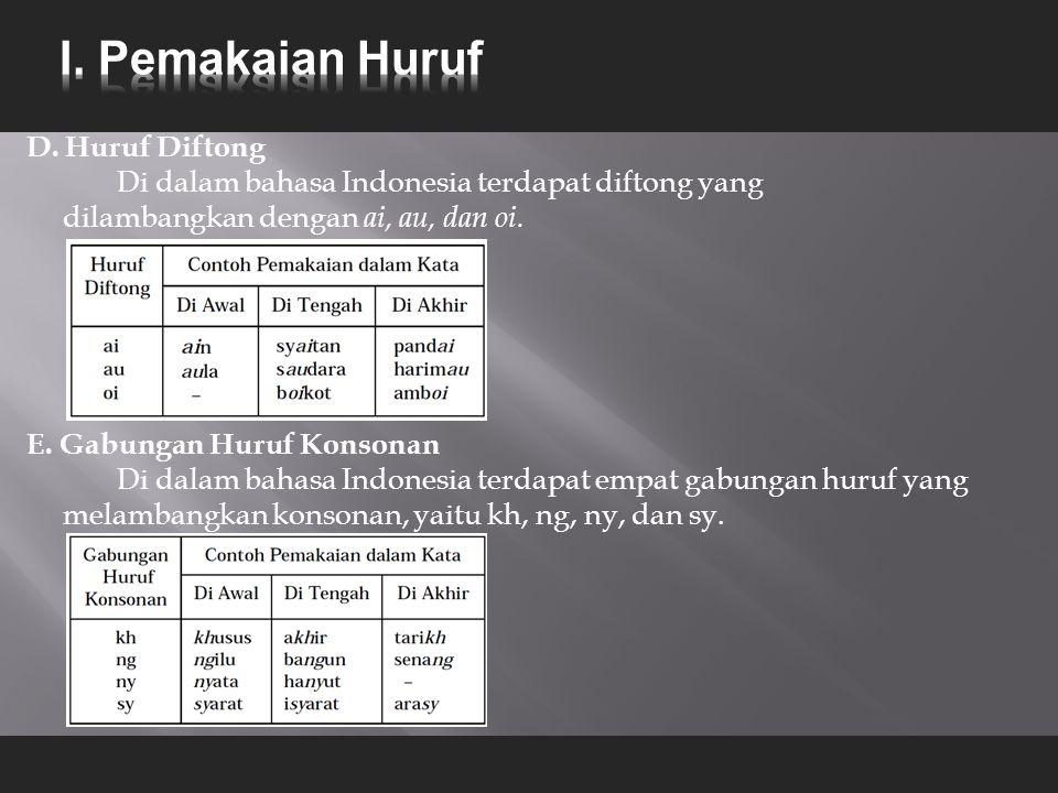 D. Huruf Diftong Di dalam bahasa Indonesia terdapat diftong yang dilambangkan dengan ai, au, dan oi. E. Gabungan Huruf Konsonan Di dalam bahasa Indone