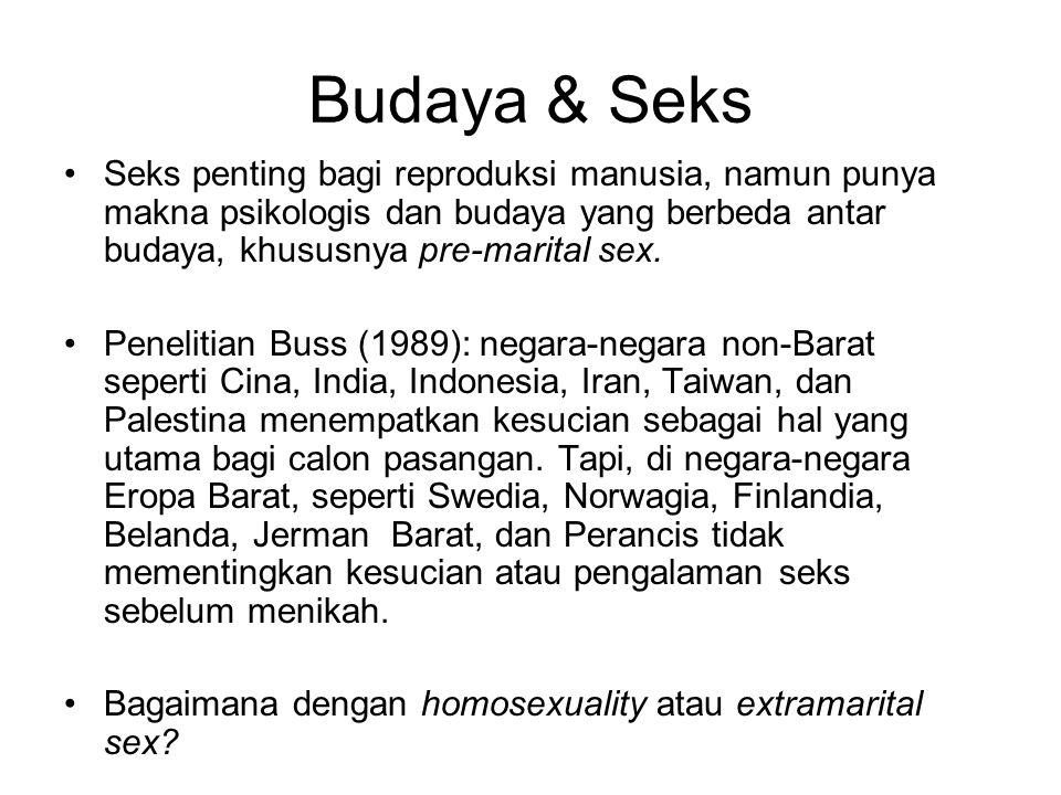Budaya & Seks Seks penting bagi reproduksi manusia, namun punya makna psikologis dan budaya yang berbeda antar budaya, khususnya pre-marital sex. Pene