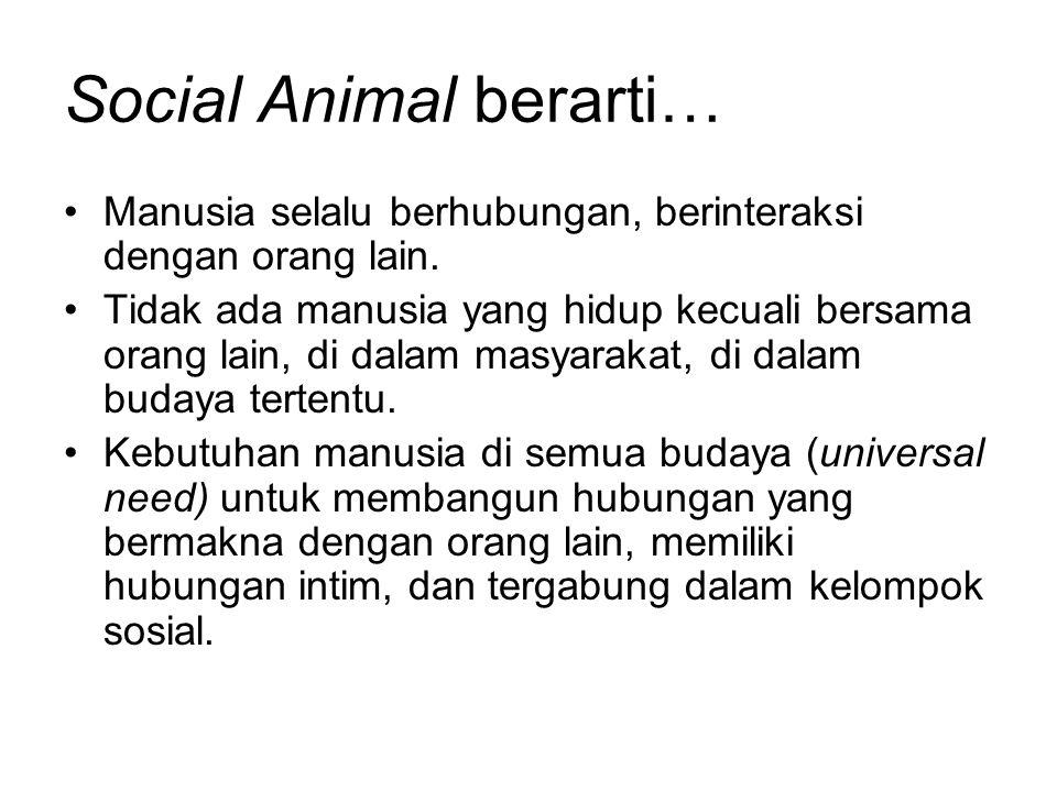 Social Animal berarti… Manusia selalu berhubungan, berinteraksi dengan orang lain. Tidak ada manusia yang hidup kecuali bersama orang lain, di dalam m