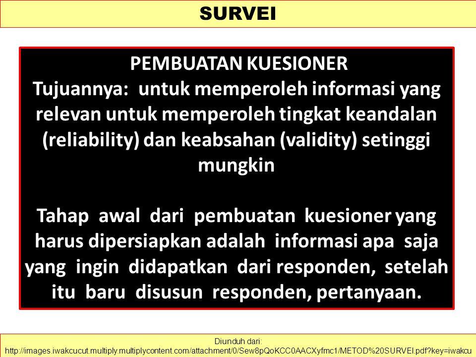SURVEI Survei adalah pemeriksaan atau penelitian secara komprehensif.