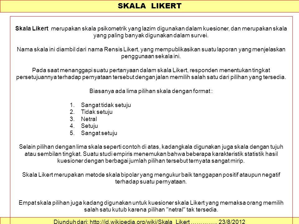 SKALA LIKERT Diunduh dari: http://id.wikipedia.org/wiki/Skala_Likert …………..