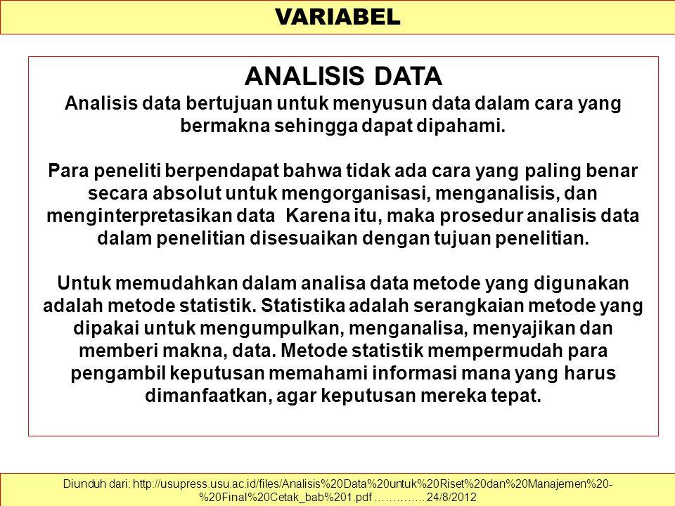 VARIABEL Diunduh dari: http://usupress.usu.ac.id/files/Analisis%20Data%20untuk%20Riset%20dan%20Manajemen%20- %20Final%20Cetak_bab%201.pdf …………..
